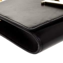 Louis Vuitton Black Leather Louise Chain Clutch