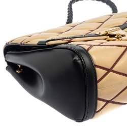 Louis Vuitton Beige/Black Leather Malletage Pochette Flap Bag