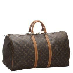 Louis Vuitton Brown Monogram Canvas Keepall Bandouliere 55 Bag
