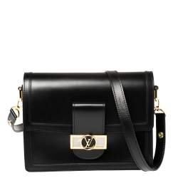 Louis Vuitton Black Leather Dauphine Lugano MM Bag