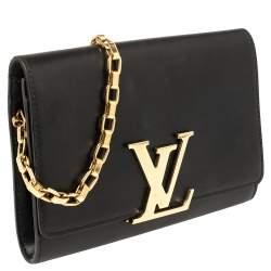 Louis Vuitton Black Leather Chain Louise MM Clutch