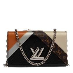 Louis Vuitton Block Color Monogram Epi Leather Twist Tape Chain Clutch