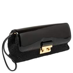 Louis Vuitton Black Patent Leather and Monogram Satin Dentelle Pochette