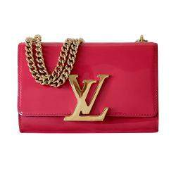 Louis Vuitton Red Leather Chain Louise MM Bag