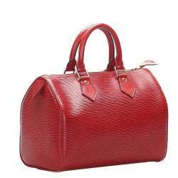 Louis Vuitton Red Leather Epi Speedy 25 Bag