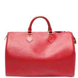 Louis Vuitton Red Epi Leather Speedy 35 Bag