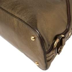 Yves Saint Laurent Metallic Bronze Leather and Suede Dome Satchel