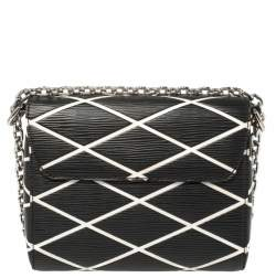 Louis Vuitton Black/White Malletage Epi Leather Twist PM Bag