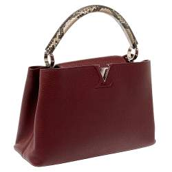 Louis Vuitton Bordeaux Taurillon Leather and Python Capucines MM Bag