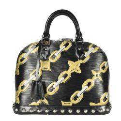 Louis Vuitton Black Epi Chain Flower Alma PM Bag