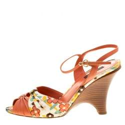 Louis Vuitton Orange Motif Printed Fabric and Leather Ankle Strap Sandals Size 38.5
