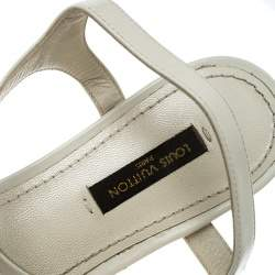 Louis Vuitton Cream Leather Studded Flat Ankle Strap Sandals Size 38.5