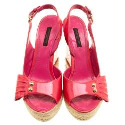 Louis Vuitton Pink Patent Leather Peep Toe Espadrille Wedge Slingback Sandals Size 37