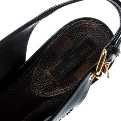 Louis Vuitton Dark Brown Patent Leather New Saint Honore Slingback Platfrom Sandals Size 37