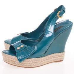 Louis Vuitton Blue Patent Espadrilles Slingback Wedges Size 37.5