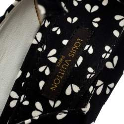 Louis Vuitton Black Printed Fabric Bow Ankle Strap Wedges Sandals Size 38