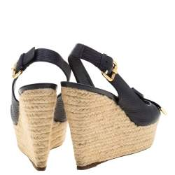 Louis Vuitton Blue Leather Espadrille Slingback Wedges Platform Sandals Size 38.5