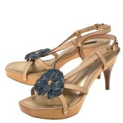 Louis Vuitton Beige/Blue Monogram Denim Floral Platform Strappy Sandals Size 39.5