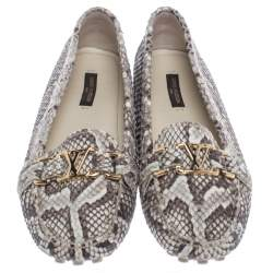 Louis Vuitton Beige/Brown Python Leather Logo Slip On Loafers Size 39