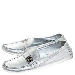 Louis Vuitton Metallic Silver Leather Lombok Loafers Size 37