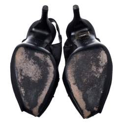 Louis Vuitton Black Satin Crystal Embellished Peep Toe Slingback Sandals Size 36