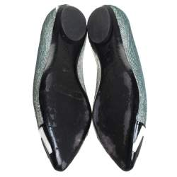 Louis Vuitton Blue Sequin Embellished Satin And 2 Tone Patent Pointed Toe Ballet Flats Size 36