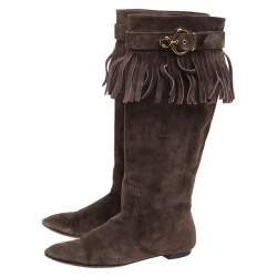 Louis Vuitton Brown Suede Fringe Buckle Detail Knee Length Boots Size 38