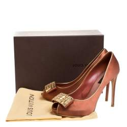 Louis Vuitton Bronze Satin Music Hall Open Toe Pumps Size 38