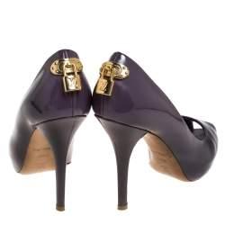 Louis Vuitton Purple Patent Leather Oh Really! Peep Toe Platform Pumps Size 38.5