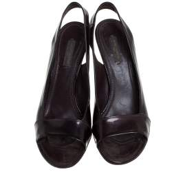 Louis Vuitton Dark Burgundy Patent Leather Open Toe Slingback Sandals Size 40