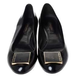 Louis Vuitton Black Glossy Leather Ballet Flats Size 37.5