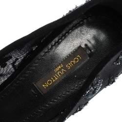 Louis Vuitton Black Monogram Sequins,Mesh and Suede Peep Toe Pumps Size 37.5