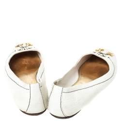 Louis Vuitton White Leather Logo Embellished Ballet Flats Size 41