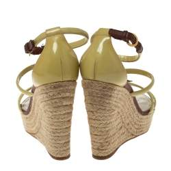 Louis Vuitton Cream/Brown Patent Leather Monogram Flower Espadrille Wedge Sandals Size 37.5