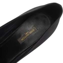 Louis Vuitton Black Satin Bow Peep Toe Pumps Size 37.5
