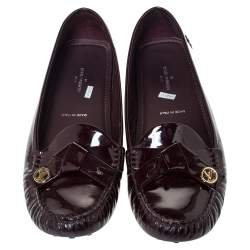 Louis Vuitton Burgundy Patent Leather Oxford Driving Loafers Size 38