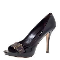 Louis Vuitton Dark Burgundy Monogram Idylle & Patent Leather Buci Pumps Size 37.5
