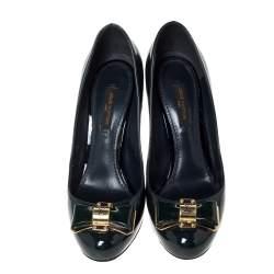 Louis Vuitton Green Patent Leather Bow Pumps Size 36