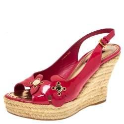 Louis Vuitton Pink Patent Floral Applique Wedge Espadrille Slingback Sandals Size 37