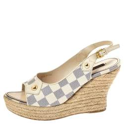 Louis Vuitton Damier Azur Canvas Slingback Wedge Platform Sandals Size 38