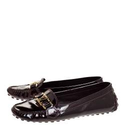 Louis Vuitton Burgundy Patent Leather Oxford Loafers Size 39