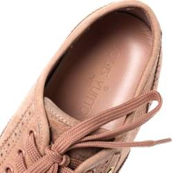 Louis Vuitton Light Peach Nubuck Leather Lace Up Brogue Sneakers Size 39.5