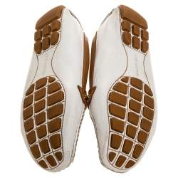 Louis Vuitton Brown/White Leather Embellished Logo Slip On Loafers Size 38.5