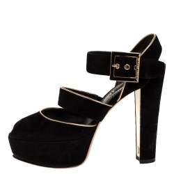 Louis Vuitton Black Suede Leather Mowani Platform Ankle Strap Sandals Size 38