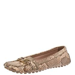 Louis Vuitton Beige/Brown Python Leather Oxford Loafers Size 38