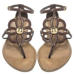 Louis Vuitton Brown Leather Fidji Thong Ankle Strap Sandals Size 40