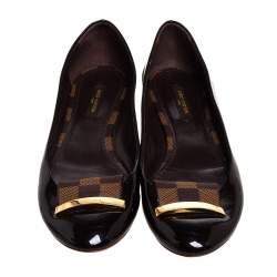 Louis Vuitton Burgundy Patent Leather And Damier Ebene Canvas Logo Ballet Flats Size 38
