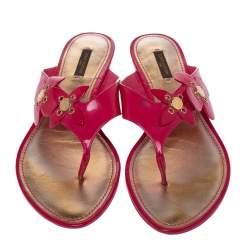 Louis Vuitton Pink Patent Leather Floral Applique Thong Flats Size 41