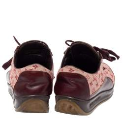 Louis Vuitton Burgundy Leather And Beige Monogram Canvas Lace Up Sneakers Size 38
