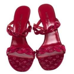 Louis Vuitton Maroon Monogram Canvas Cross Strap Sandals Size 38.5